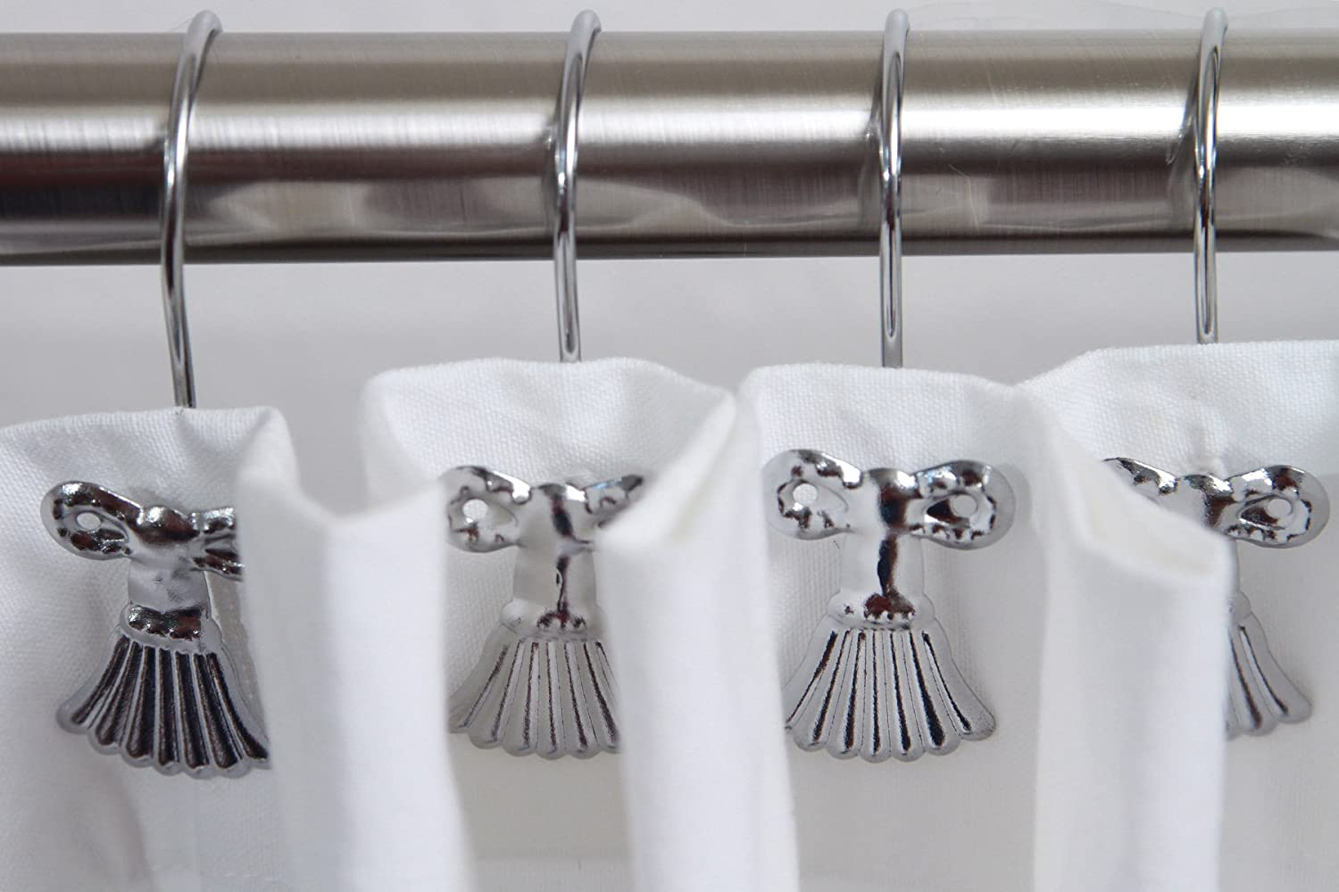 2 Sets Of Tassel Shower Curtain Hooks For The Price ONE Polished Chrome Includes A 1