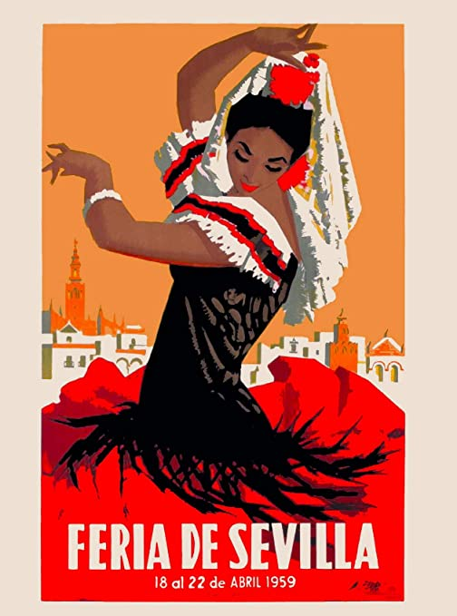 ABLERTRADE 1959 Feria de Sevilla Sevilla España Vintage Travel Advertisement Metal Art Poster Decoración de pared cartel de chapa de 20,3 x 30,5 cm: Amazon.es: Hogar