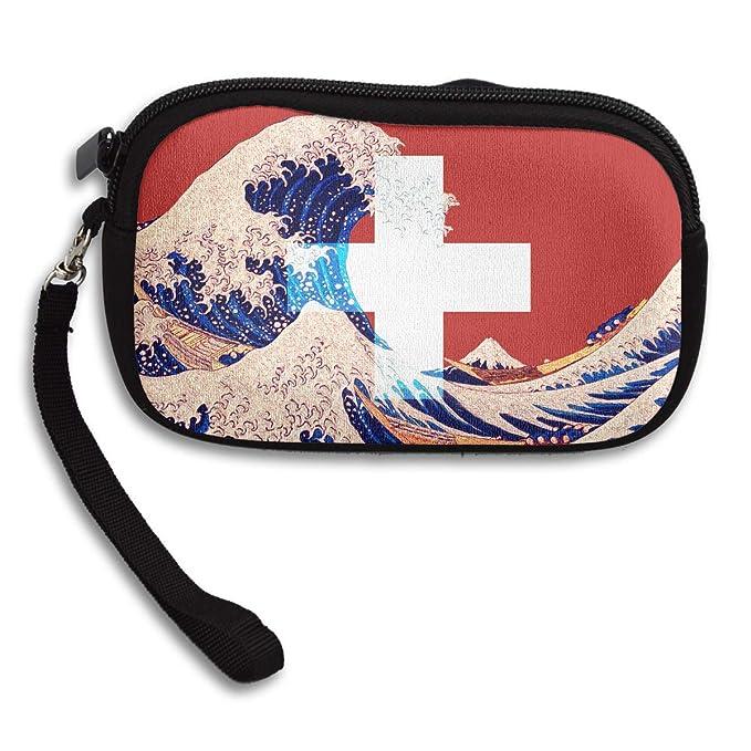 Amazon.com: Monedero de la bandera de Suiza y la onda de ...