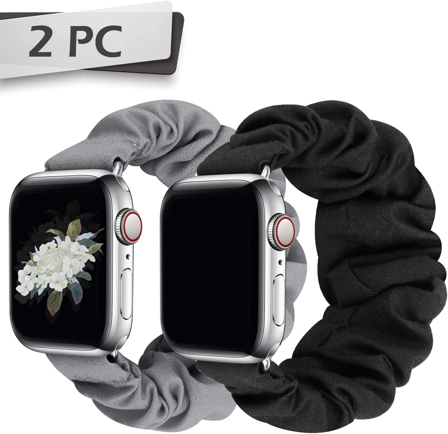 JIELIELE Compatible with Scrunchie Apple Watch Band 38mm 40mm 42mm 44mm, Cute Elastic Wristbands for Women, Stretchy Strap Iwatch Bands for Apple Watch Series SE 6 5 4 3 2 1 (M-38/40 SET-BG)