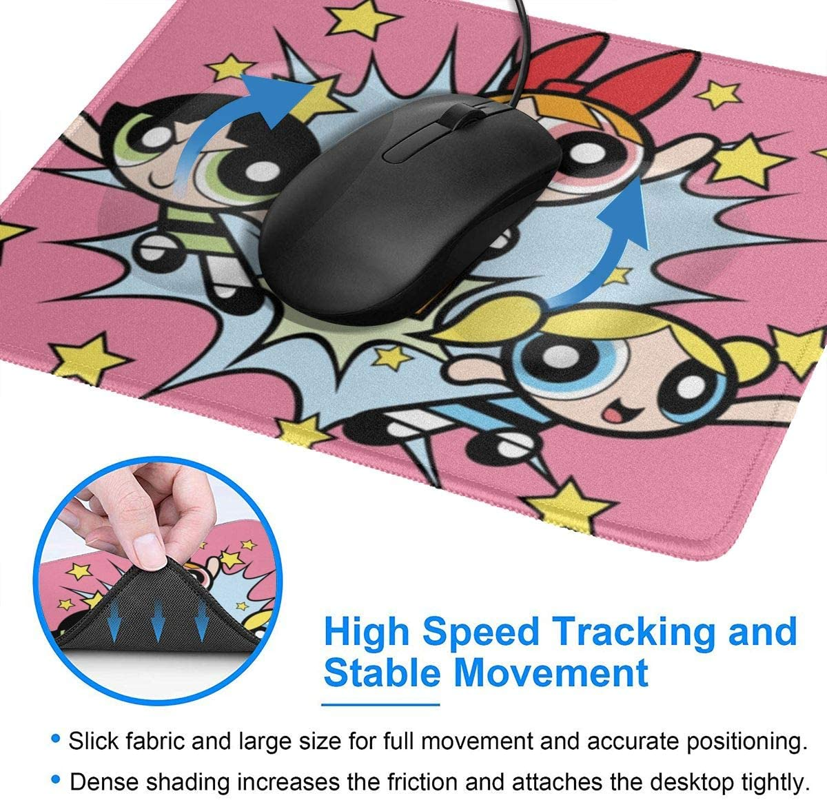 Girls Stylish Printing Design is Durable and Green Mouse Pad Powerpuff