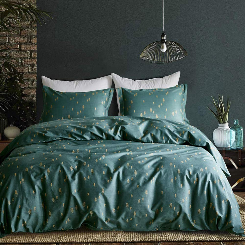 mixinni 3 Pieces Duvet Cover Set, 100% Natural Cotton,Gold Arrows Printed on Queen Full Size Green Duvet Cover with Zipper&Ties, 1 Duvet Cover and 2 Pillowcases, Ultra Soft,Breathable-Dark Green