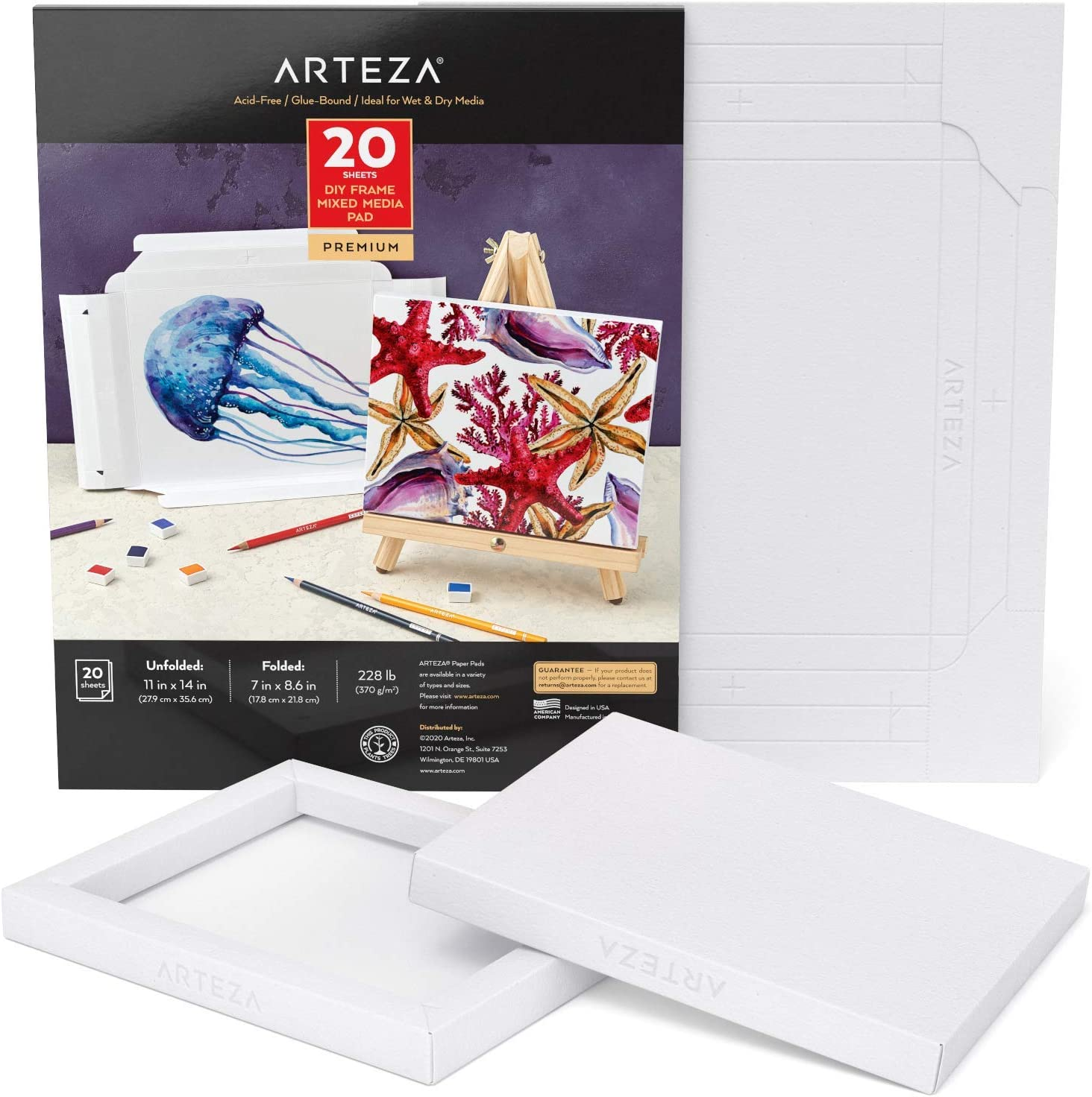 Arteza Mixed Media Paper Foldable Canvas Pad, 7x8.6 Inches, 20 Sheets, DIY Frame, Heavyweight Multimedia Paper, 228 lb, 370 GSM, Acid-Free, Wood Pulp Pad for Painting & Mixed Media Art