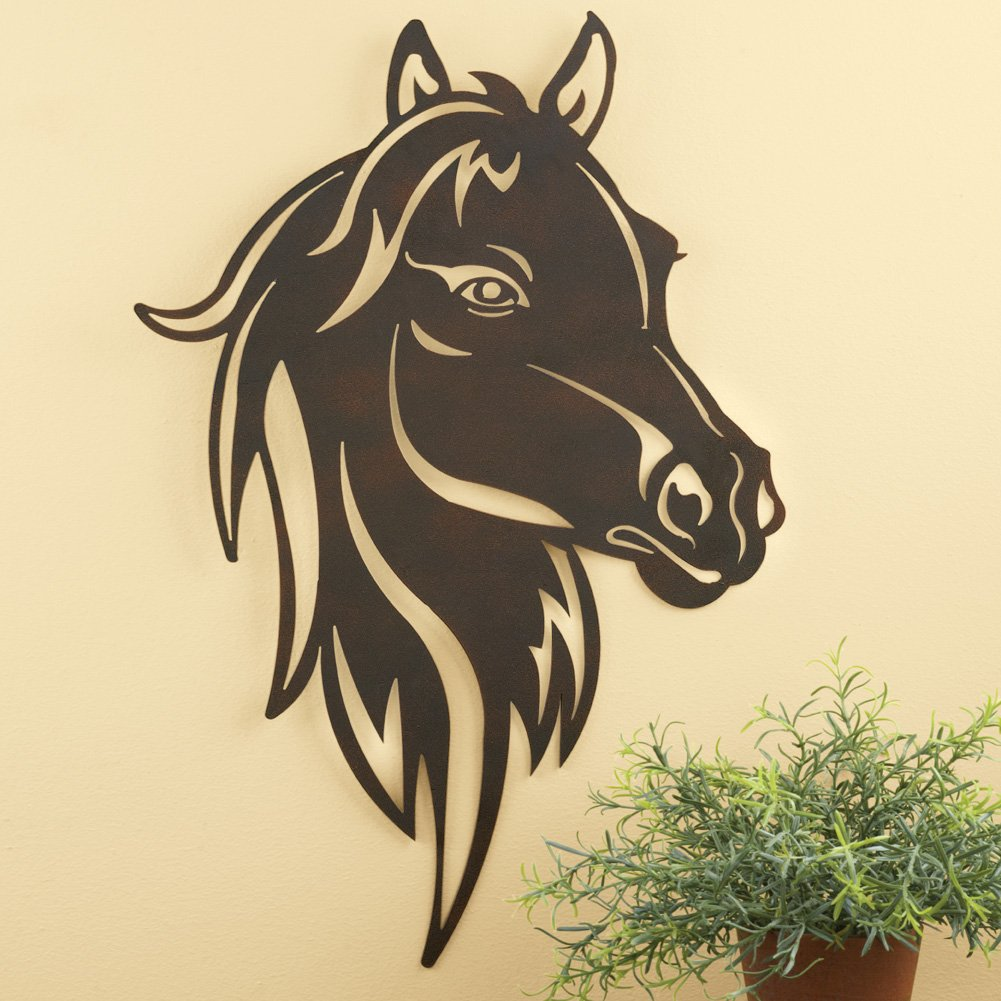 Amazon.com: Collections Etc Metal Western Horse Head Wall Art, Brown ...