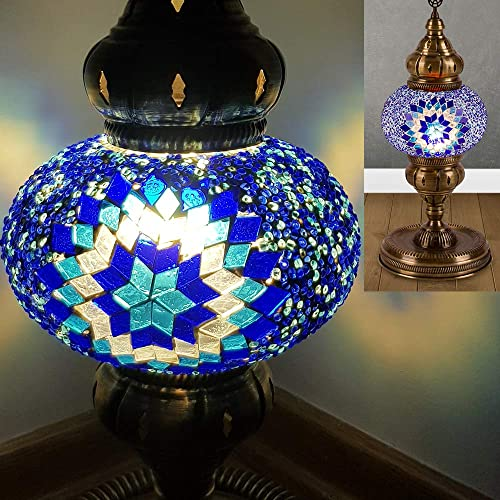 Turkish Moroccan Mosaic Table Bedside Nightstand Crystal Glass Globe Lamp Light