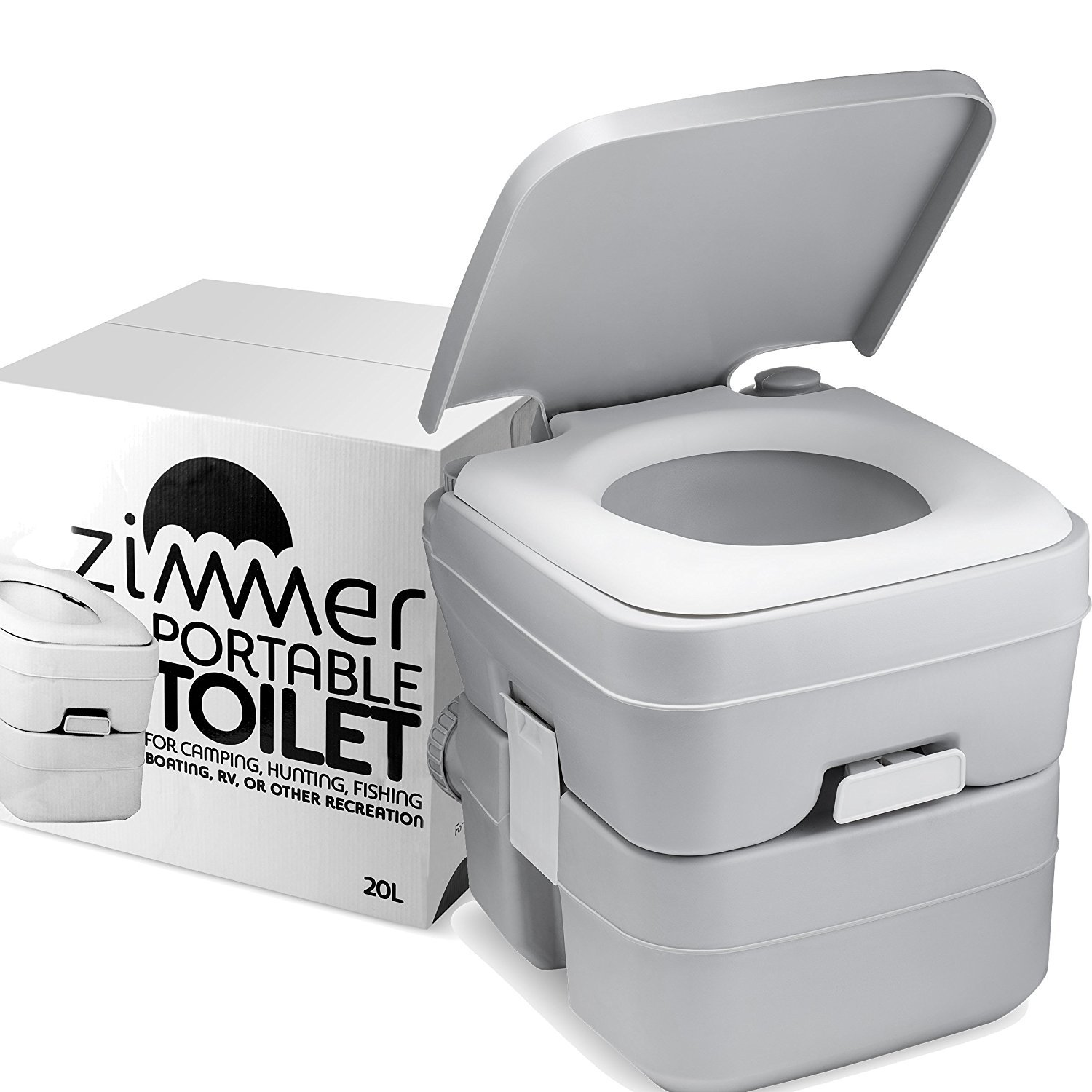Portable Toilet Camping Porta Potty - 5 Gallon Waste Tank - Durable, Leak Proof, Flushable Easy to use RV Toilet With Detachable Tanks for Effortless Cleaning & Carrying, for Travel, Boating and Trips by ZIMMER