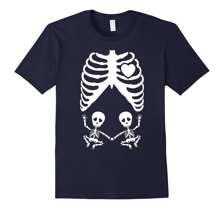 Xray Maternity Twins Tshirt Skeleton Twins - Halloween Party-RT