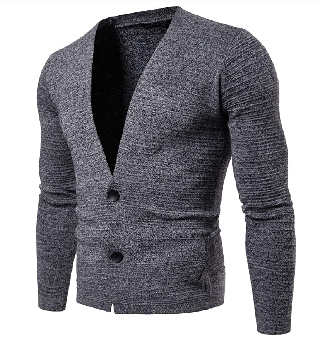 Alion Mens Casual V Neck Basic Slim Button Down Knitwear Cardigan Sweater