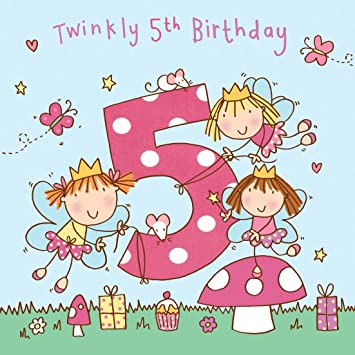 Twizler 5th Birthday Card For Girl With Fairy Princess And Glitter