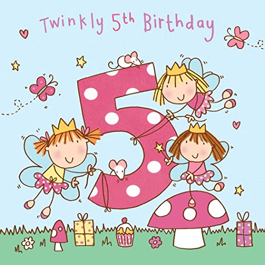 Twizler 5th Birthday Card for Girl with Fairy Princess and Glitter – Birthday Cards for Girl