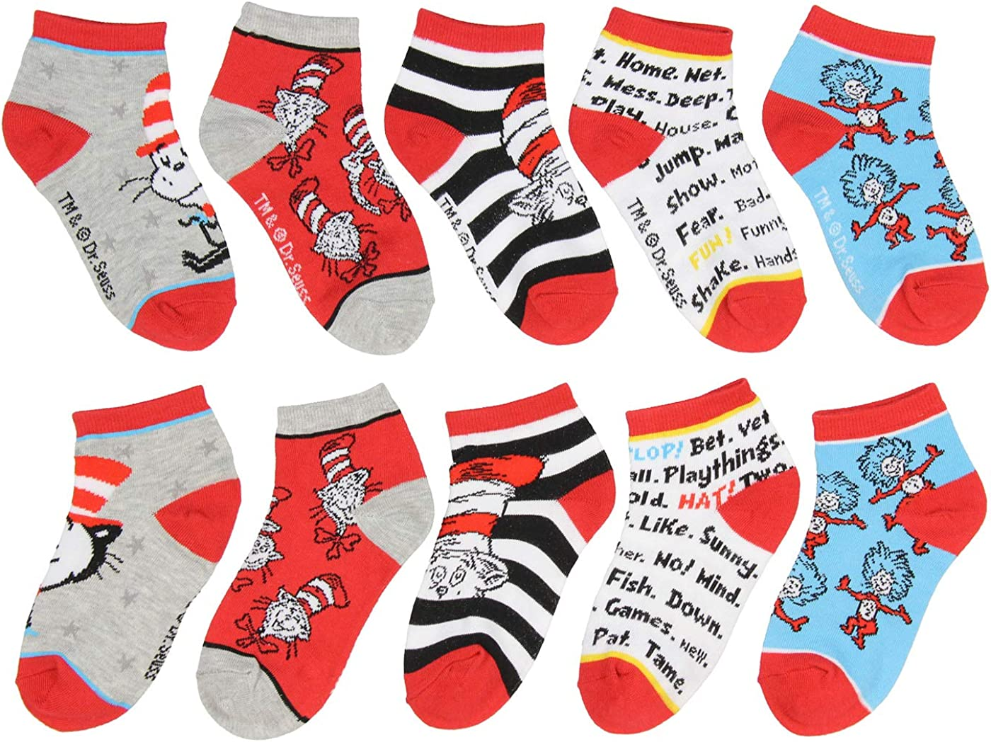 Dr 5 Pack For Boys Or Girls Seuss Socks Kids Cat In The Hat Thing 1 Thing 2 Ankle No Show Socks
