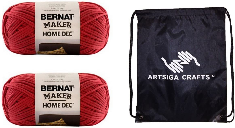 Bernat Knitting Yarn Maker Home Dec Woodberry 2-Skein Factory Pack (Same Dyelot) 161211-11001 Bundle with 1 Artsiga Crafts Project Bag