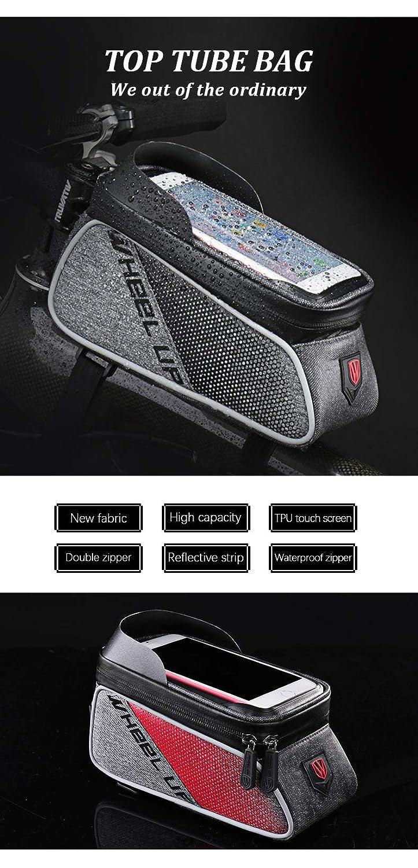 l/écran Tactile,Trou de C/âble d/écouteur,pour iPhone//Samsung et T/él/éphones de Moins de 6.5Pouces SHS2018 Sacoches de Cadre V/élo Etanche,Sacoches de Guidon Support de T/él/éphone /à V/élo