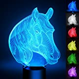 Horse 3D Optical LED Illusion Lamp, YKL World 7 Color Change Touch Switch Art Sculpture Lights Desk Table Night Light Awesome Gift(Stallion)