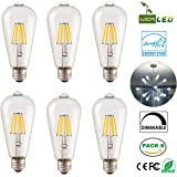 PACK of 6 LED Vintage Edison Light Bulbs Dimmable 6W Clear ST64 Antique E26 LED Filament Decorative Light Bulbs Bright White Daylight(6000K) 120V