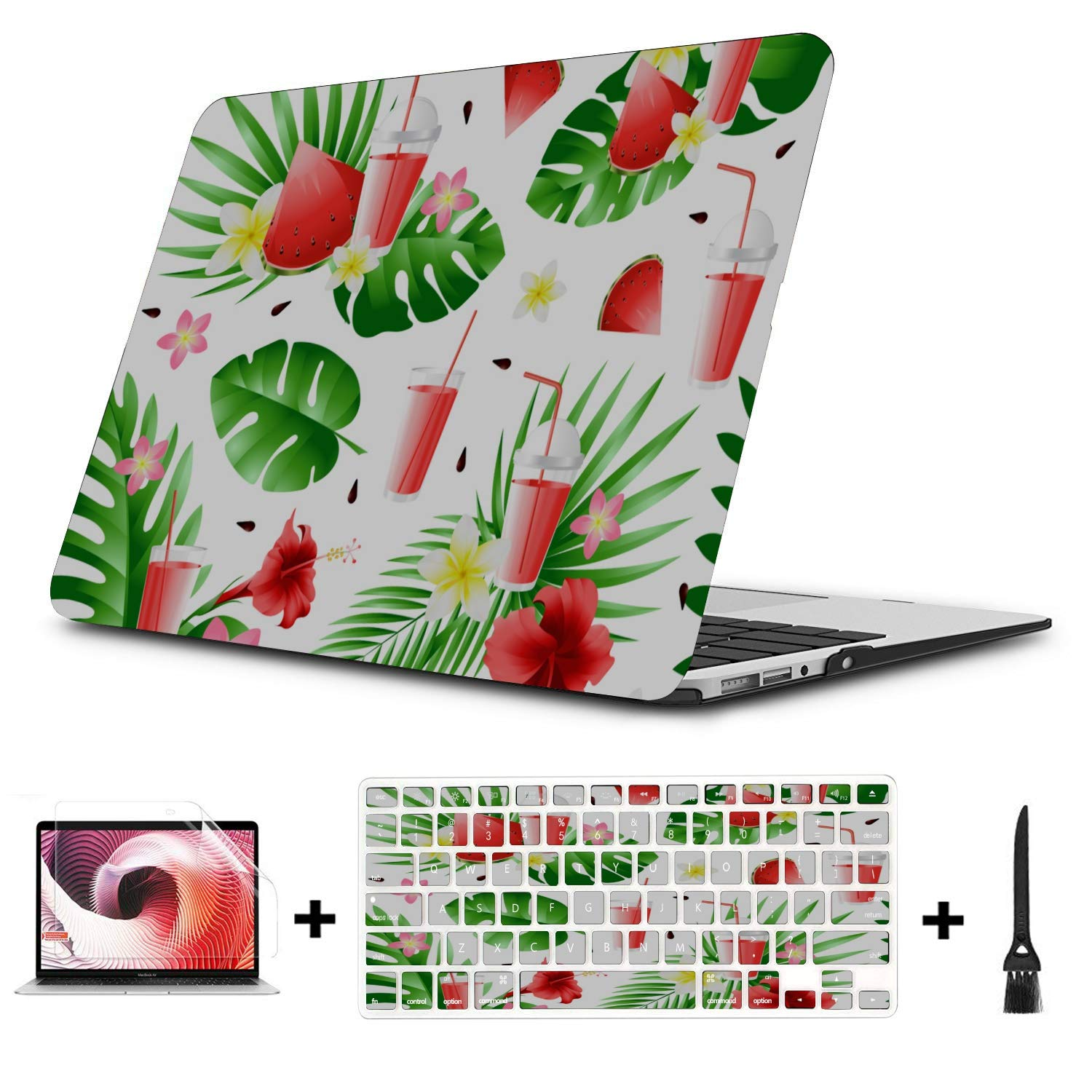 A1466 Case Summer Sweet Cool Watermelon Juice Plastic Hard Shell Compatible Mac Air 11 Pro 13 15 Laptop Cover Case Protection for MacBook 2016-2019 Version