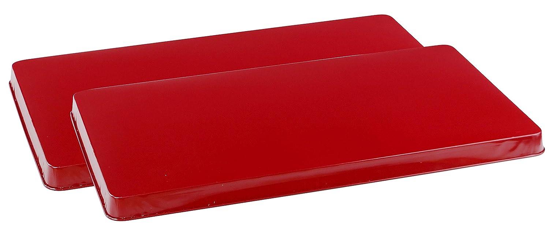 Reston Lloyd 2-Piece Rectangular Tin Burner Cover, 19.75-Inch by 11-Inch, Red