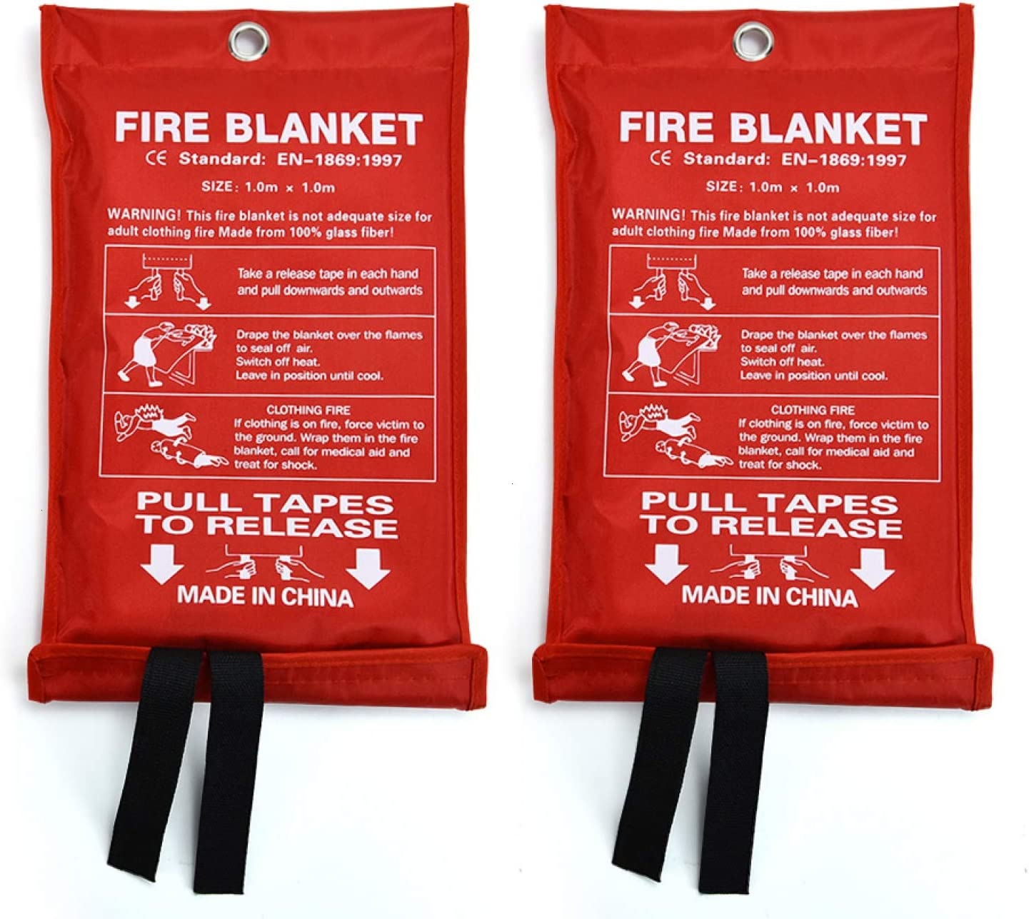 Office Warehouse 39.4 x 39.4 in Car AQUEENLY Fiberglass Fire Emergency Blanket Fire Shelter Safety Cover for Kitchen 2Pack Fire Blanket for Emergency Survival Camping Grilling