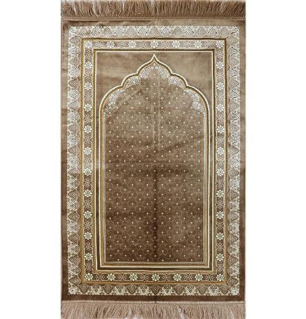 Muslim Prayer Rug   Plush Adult Janamaz Islamic Namaz Seccade Turkish Prayer  Mat Carpet FREE CAP