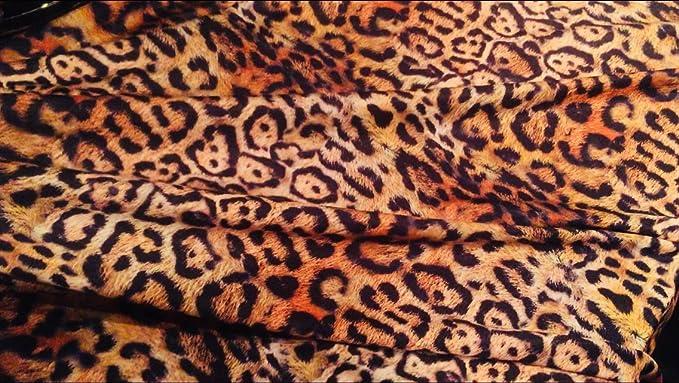 Beige Large Leopard Print 4-way stretch spandex//lycra velvet//velour fabric