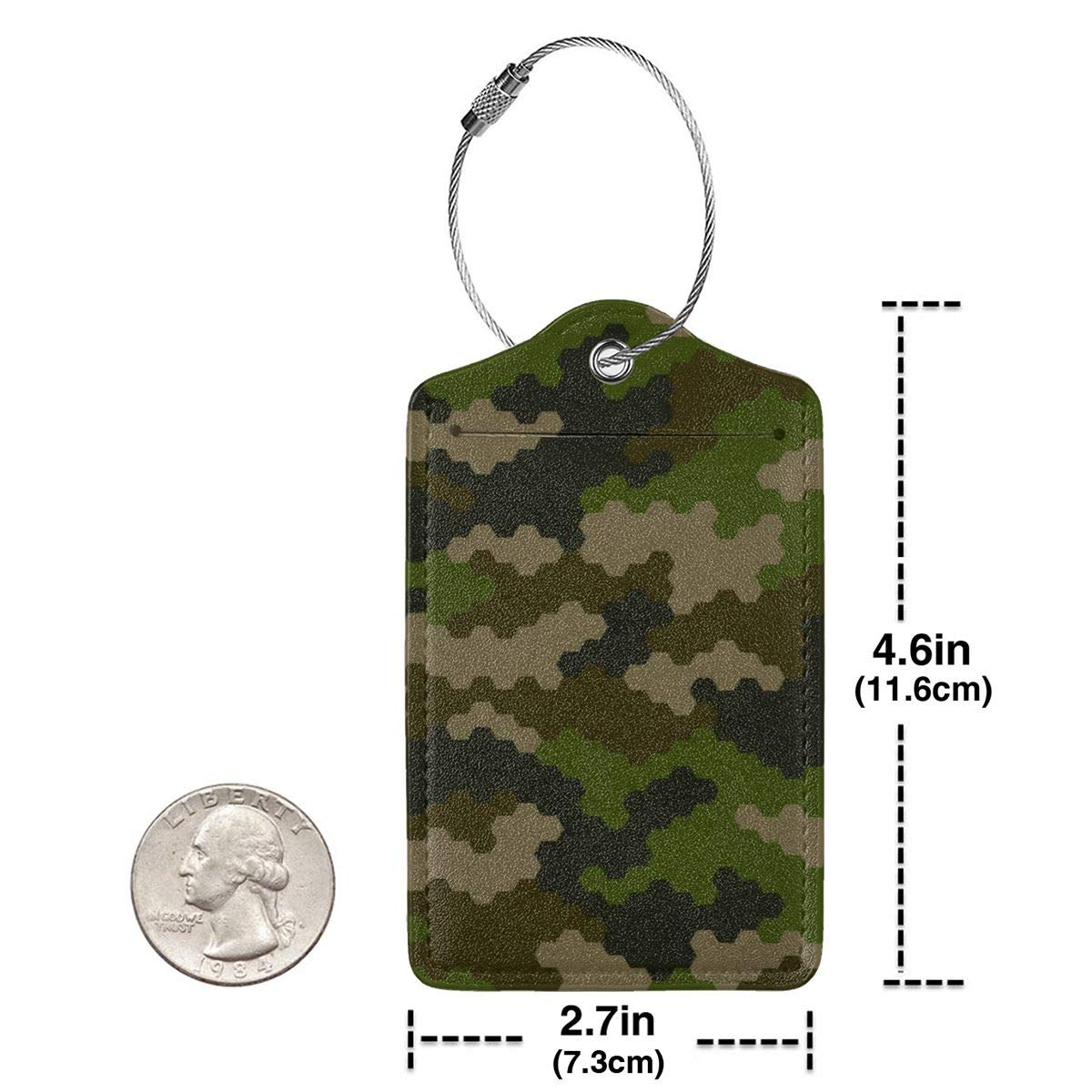 Camouflage Pattern Travel Luggage Tags With Full Privacy Cover Leather Case And Stainless Steel Loop