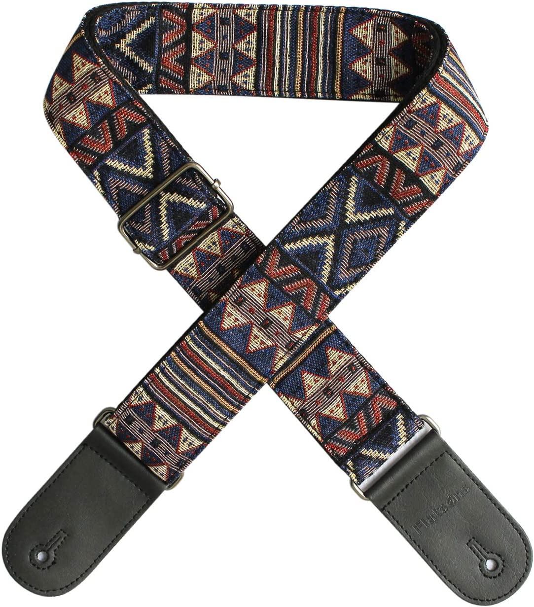 Szeles Guitar Strap 100/% Soft Cotton /& Genuine Leather Ends Guitar Shoulder Strap For Bass Electric /& Acoustic Guitars
