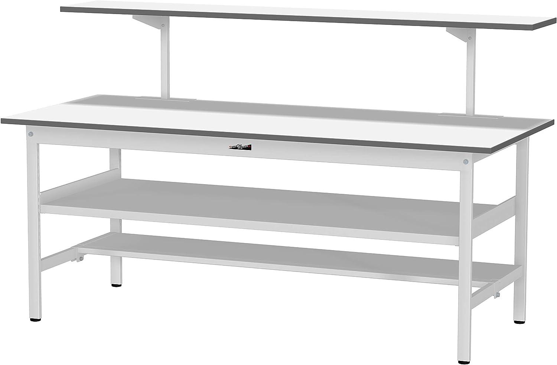 ワークテーブル150シリーズ固定式H740 中間棚板/半面棚板付+架台 1200×750 SUP-1275TF-WW+UK-1200-W