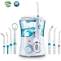 Irrigador Bucal,Jkevow Irrigador Dental limpieza Profesional con 7 Boquillas Multifuncionales 600ML de gran Tanque de agua 10 Ajustes de presión,Aprobado por la FDA