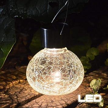 LED Solar Leuchte Sockel Lampe Garten Zaun Außen Beleuchtung Kugel weiß D 20 cm