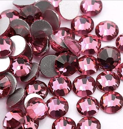 ss12 1440 pcs, Rose Gold Crystal AB//Crystal Flatback Glass Rhinestones Glue Fix 3.0mm