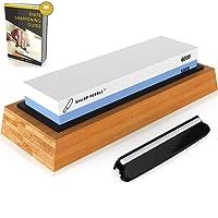 Premium Knife Sharpening Stones 2 Side Grit 1000/6000 Waterstone | Best Whetstone Sharpener | NonSlip Bamboo Base & Angle Guide