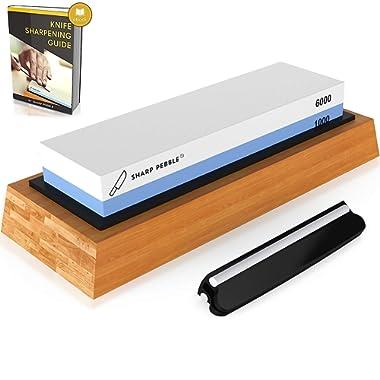 Sharp Pebble Premium Knife Sharpening Stone 2 Side Grit 1000/6000 Waterstone | Best Whetstone Sharpener | NonSlip Bamboo Base & Angle Guide