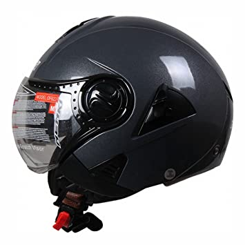 GUO Motocicleta Coche Eléctrico Harley Casco Casco de Casco de Lente Doble Medio Casco de Seguridad Unisex Personalidad Locomotora: Amazon.es: Deportes y ...