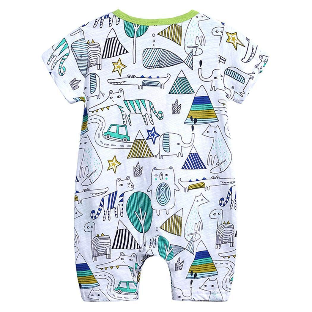 Gugio Baby Girls and Boys Rompers Inflant Short Sleeve Printed One Piece Jumpsuits