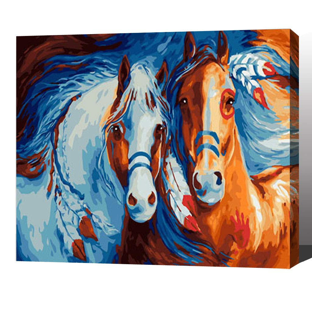 MADE4U [ Animal Series 6 ] [ 20'' ] [ Wood Framed ] Paint by Numbers Kit with Brushes and Paints (Horse HHGZGX23655 )