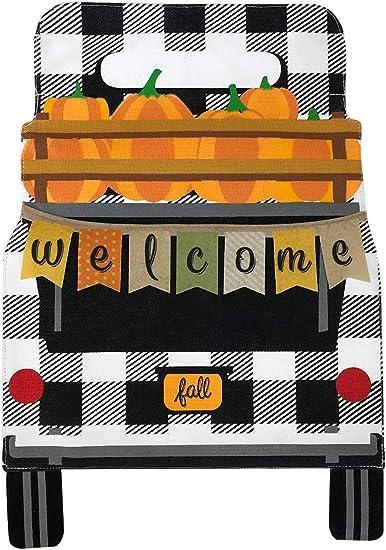 "Black Checkered Truck Fall Burlap Garden Flag Pumpkins 12.5/""x18/"" Briarwood Lane"