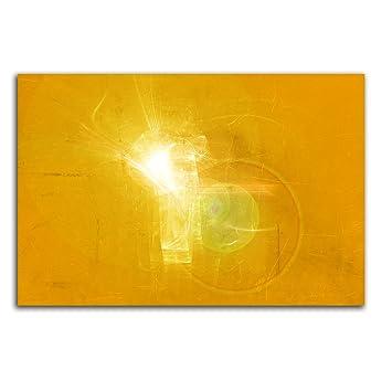 100x70cm Abstrakt048_Leinwandbild Lichtpunkt Abstrakte Kunst Gelb Weiß  Kunstdruck Auf Leinwand Zeitloses Wohnambiente TOP Moderne Wandgestaltung