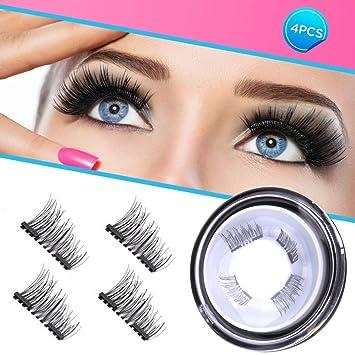 26b224d72da Amazon.com : Magnetic Eyelashes Dual Magnet Glue-free 3D Reusable Full Size  Premium Quality Natural False Lashes - 2018 : Beauty