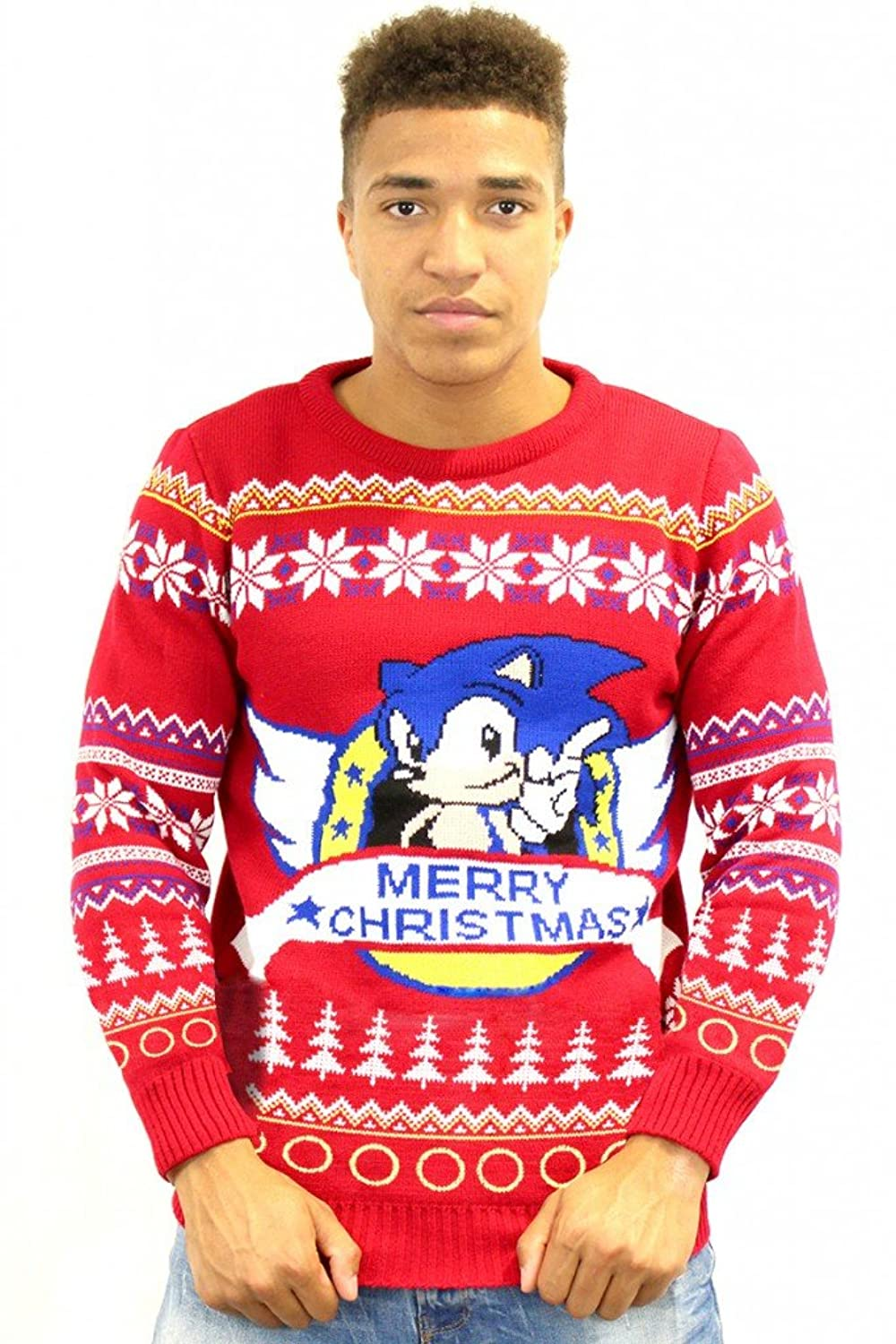 Classic Sonic Official Ugly Christmas Sweater (Small) at Amazon ...