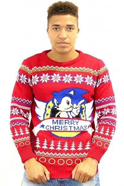 Hedgehog Christmas Jumper.Official Sega Classic Sonic The Hedgehog Xmas Sweater X