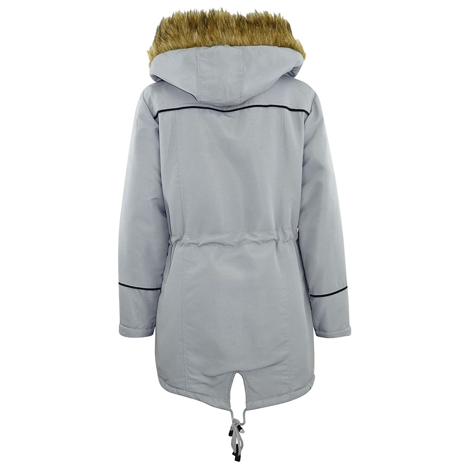 A2Z 4 Kids/® Kids Coat Designers Silver Parka Jacket Long Faux Fur Hooded Top New Age 3 4 5 6 7 8 9 10 11 12 13 Years