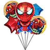 Party Propz Spiderman Balloon Bouquet (Set Of 5) For Spiderman Birthday Decoration