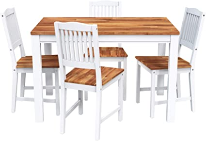 Amazon Com Interbuild Real Wood Swoppmokk 5 Piece Dining Table Set With Butcher Block Wood Top 1 Table 4 Chairs White Home Kitchen