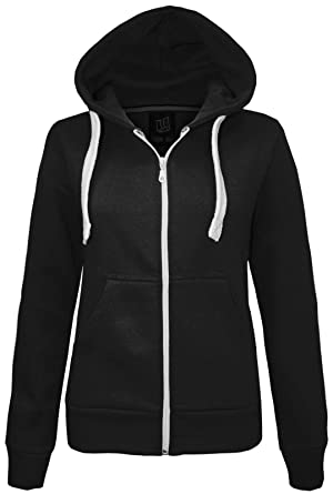 NEW LADIES WOMENS PLAIN HOODIE HOODED ZIP TOP ZIPPER SWEATSHIRT JACKET COAT  Black UK 10   a598835c6d