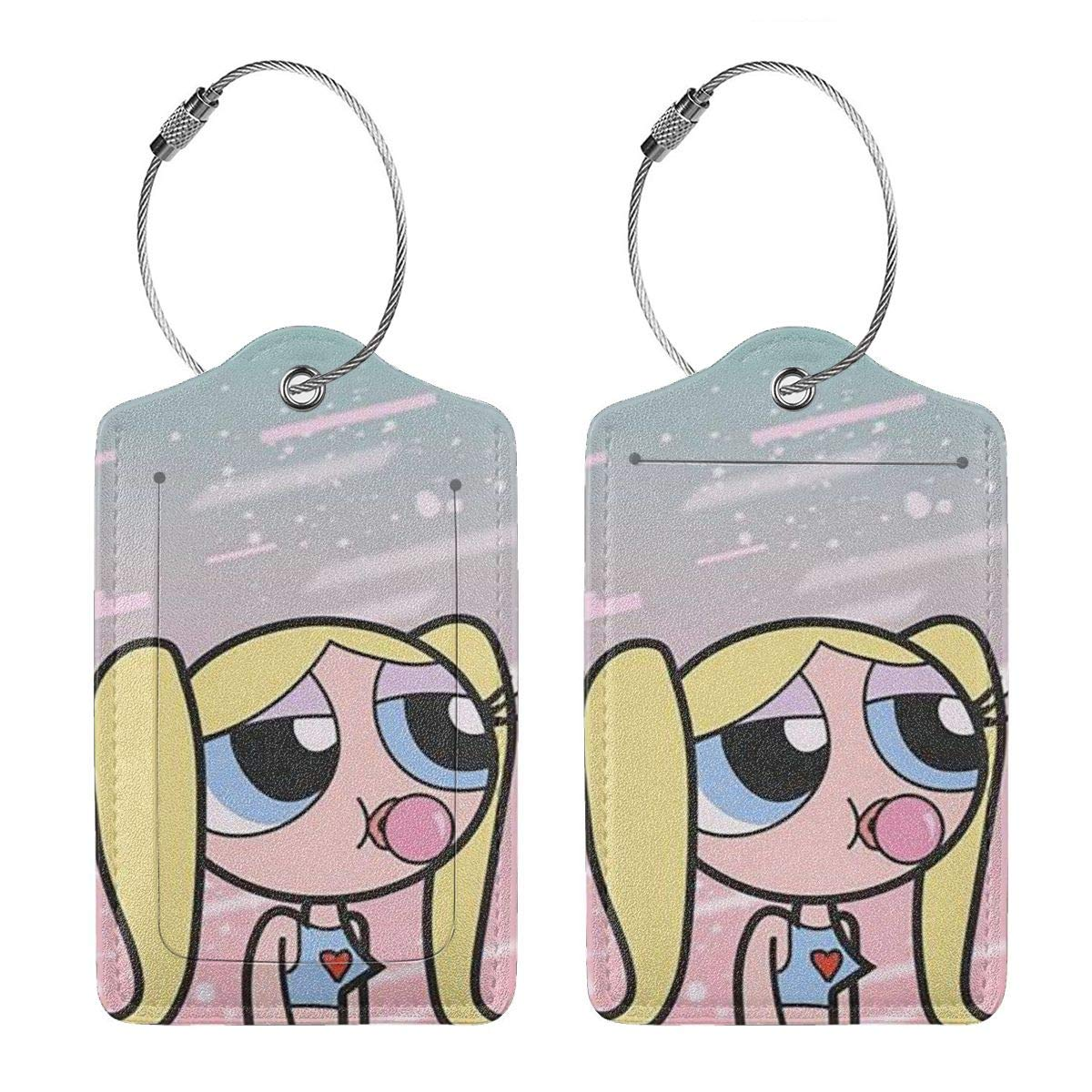 Fashion The Powerpuff Girls Soft Leather Luggage Tags With Privacy Cover 1-4 Pcs Choose Suit For Travel,Vacation