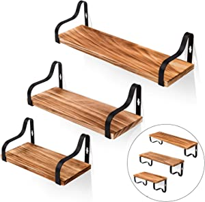Pine Bathroom Floating Shelves Wall Mounted Set of 3, Rustic Wooden Shelves Metal Brackets Easy to Install for Home Kitchen Bedroom