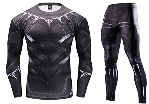 d8468bd21a2 Marvel Comics Black Panther Design Men s Crossfit Polyester Spandex  Leggings   Elastic Fitness T-