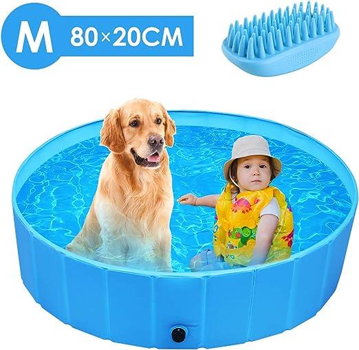 Femor Piscina Perros y Gatos Bañera Plegable, Piscina para Niños,PVC Antideslizante y Resistente al Desgaste, Adecuado para Interior Exterior al Aire Libre, Color Azul (80 x 80 x 20cm): Amazon.es: Productos para