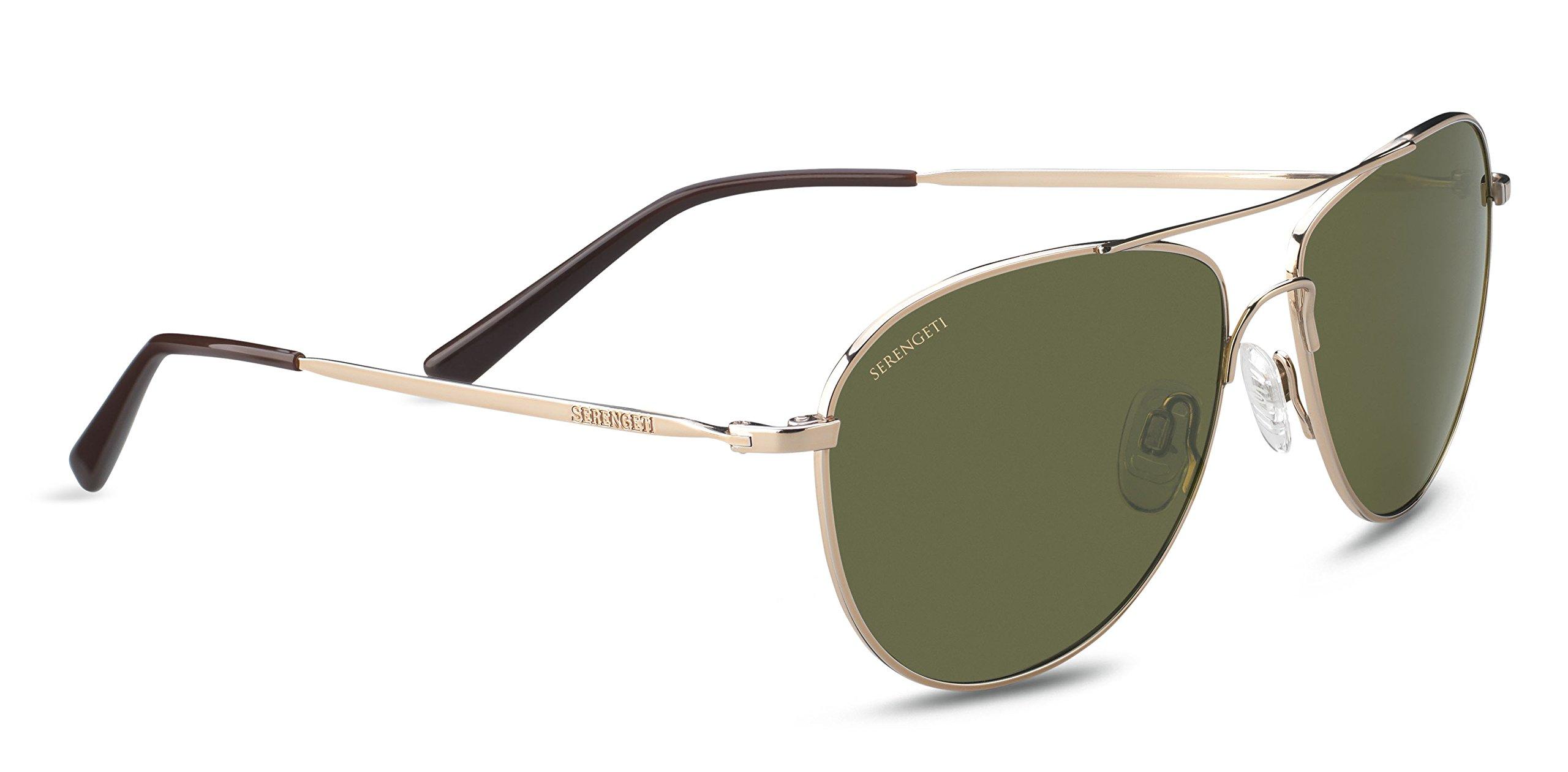 Serengeti Alghero Sunglasses Shiny Soft Gold, Green