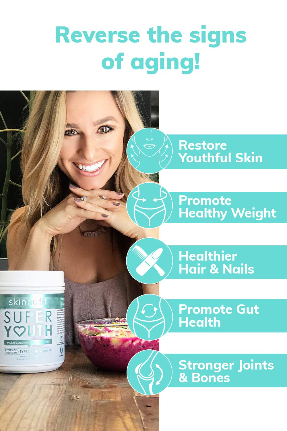 SkinnyFit Super Youth: 5 Types of Collagen Peptides, Hydrolyzed Powder Supplement for Joint & Bone Support, Glowing Skin, Strong Hair & Nails (58 Servings), Pasture Raised, Grass Fed, Cage Free by SkinnyFit (Image #2)